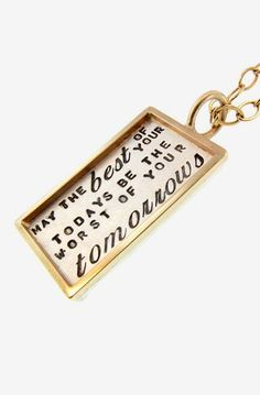 Personalized Silver Rectangle Pendant Framed in Solid Gold