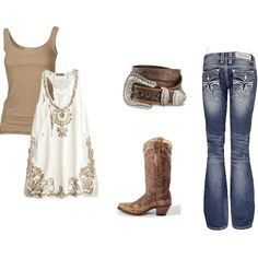 I'm always trying to think of outfit ideas for nights when I go country dancing.  This is super cute!