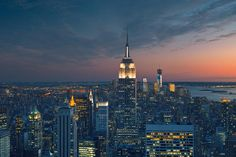 Aerial View of Manhattan at Sunset – trendy wall mural – Photowall New York City Pictures, Manhattan Nyc, Sunset Wallpaper, Aerial View, Empire State Building, Wall Murals, Architecture, Behance, Heart