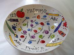 teacher school supplies auction class fingerprint bowl original by Pottery Piazza