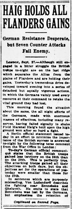 """WWI, 28 Sept 1917, The Sun, NY; """"Von Ludendorff state Zonnebeke lost by the Germans"""""""
