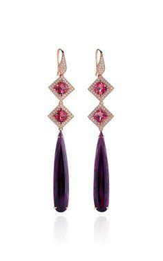 Tourmaline And Diamonds Earrings In Rose Gold by Dana Rebecca for Preorder on Moda Operandi