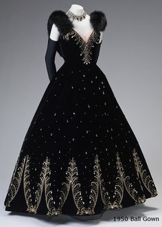 American, 1905-1992 - Ball Gown, circa 1950-1955 From a Southern Collection - Silk velvet with metallic thread embroidery worked with crystal rhinestones, drops and stones and fox fur. Description from pinterest.com. I searched for this on bing.com/images