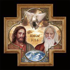 The Blessed Trinity Cross - Portraits of Saints Catholic Religion, Catholic Art, Religious Art, Jesus Christ Images, Jesus Art, Religious Pictures, Jesus Pictures, Santicima Trinidad, Christian Artwork