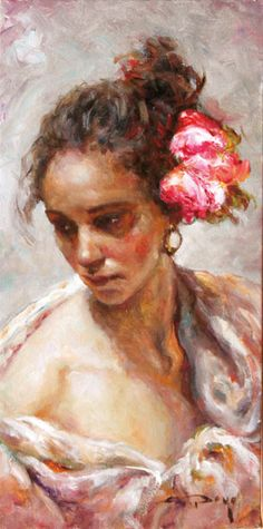 Jose Royo | La Flor | Oil on Canvas | 16 x 8 Russell Collection Fine Art Gallery :: Austin, Texas info@russell-collection.com for pricing inquiries