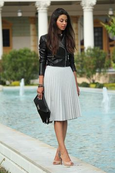 Leather jacket and grey pleated skirt. : Leather jacket and grey pleated skirt. Pleated Skirt Outfit, Skirt Outfits, Dress Skirt, Pleated Skirts, Corset Dresses, Modest Fashion, Skirt Fashion, Fashion Outfits, Style Fashion