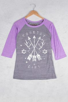 Athletic Heather/Coral - Women's Country Girl® Arrows Baseball Tee | Our Women's Vintage Triblend Baseball Tee is 3.5 oz., 50% polyester / 37% cotton / 13% rayon.