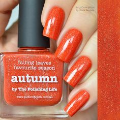 falling leaves, favourite season… AUTUMN nail polish est. 2015 with The Polishing Life Inspiration: In Alena's words… Autumn lends the most beautiful, intense and vibrant colours to nature. Why not transfer at least one of them to your nails? One of the many shades of leaves in fall inspired me to create this colour. Colour/Texture: Burnt orange jelly scatter holographic + dries... Read more »