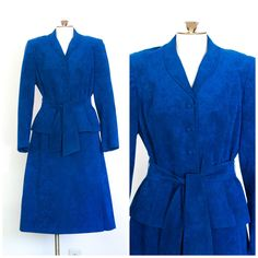 1970s royal blue ultrasuede skirt suit with belted blazer by TimeTravelFashions on Etsy