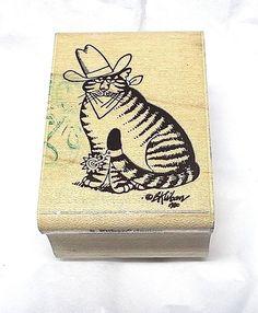 Rare cat Kliban Tex rubber stamp rare 90s cartoon comics characters wood mounted