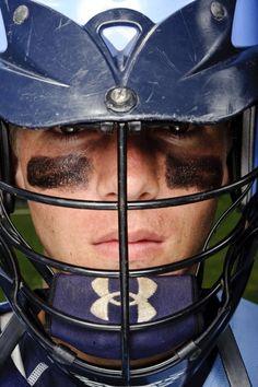 Intense shot for lacrosse or football