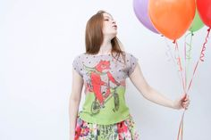 Fox on the bike chiffon top by ZIBtextile on Etsy, $45.00