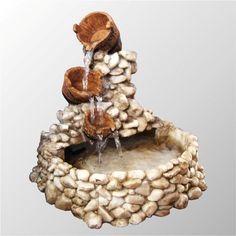 Tabletop fountains - a calming sound of running water at any time Indoor Waterfall Fountain, Diy Fountain, Tabletop Fountain, Indoor Fountain, Garden Crafts, Garden Art, Garden Design, Garden Water Fountains, Fairy Garden Houses