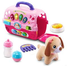 She'll love taking care of her adorable puppy with this fun and educational VTECH CARE FOR ME LEARNING CARRIER. Open the door and hear playful phrases. Light-up buttons introduce colors and shapes. The set also includes a bowl, comb, and bottle.    best gifts for 1 year old girl | best gifts for one year old girl | best toys for 1 year old girl