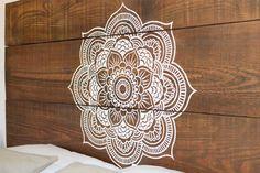 Headboard Bed wood craft Mandala by MukaliHome on Etsy