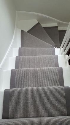 Grey Stair Runner Grey Carpet Runner to Stairs: Painted Staircases, Painted Stairs, Spiral Staircases, Curved Staircase, Carpet Stair Treads, Carpet Stairs, Stairs With Carpet Runner, Hall Carpet, Striped Carpet For Stairs