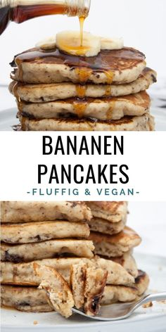 Fluffy banana pancakes with chocolate chips recipe Elephantastic Vegan - -. - Fluffy banana pancakes with chocolate chips recipe Elephantastic Vegan. Pancakes Banane Vegan, Chocolate Pancakes, Paleo Pancakes, Healthy Banana Pancakes, Vegetarian Pancakes, Blueberry Pancakes, Buttermilk Pancakes, Vegan Foods, Vegan Dishes