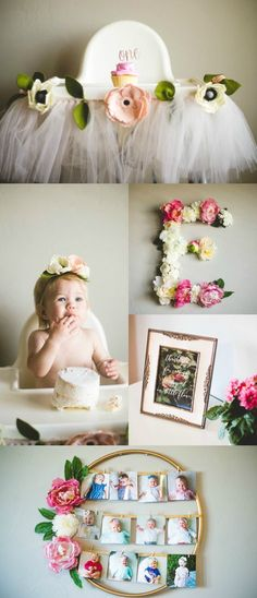 Ideas baby first birthday pictures party themes for 2019 Baby Girl 1st Birthday, First Birthday Parties, Birthday Ideas, Birthday Diy, Simple First Birthday, 1 Year Birthday, Flower Birthday, Birthday Celebration, First Birthday Photos Girl