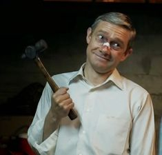 """Lester Nygaard Fan Club Official Photo. """"When you have a hammer, everything looks like a nail."""""""