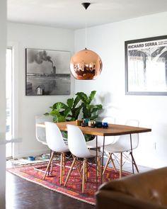 dining room lamp + rug