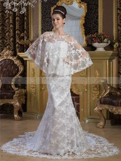 Lace over Satin Strapless Mermaid Wedding Dress with Matching Cape