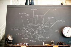 Hasselblad Chalk Diagram at Levis Workshop, photo by Shawn Hoke Camera Decor, Camera Art, Old Cameras, Vintage Cameras, Camera Photos, Chalk Drawings, Vintage Fur, Retro Vintage, Love Photography