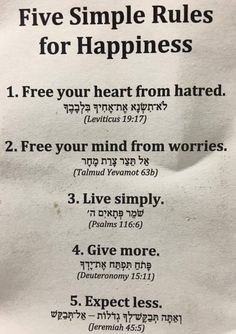 5 simple rules for Happiness 1 for each level of the Soul
