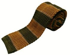 Nick Bronson Knitted Tie - GS5  Stripe Gold/Green