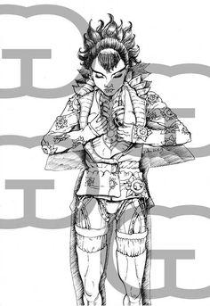 S'ouvrir aux autres et mettre son coeur à nu. C'est à prendre au sens propre pour cete femme cyborg.25/05/2013.Dessin au feutre noir.D'après photo.