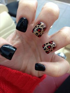 Black gold red cheetah nails I just got, in love