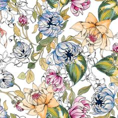by MerveAruta Seamless Repeat Royalty-Free Stock Pattern Elegant Flowers, Floral Flowers, Floral Motif, Floral Design, Rug Company, Plant Drawing, Botanical Drawings, Digi Stamps, Repeating Patterns