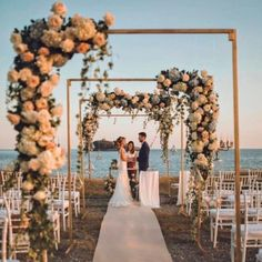 24 Beautiful Wedding Arch Ideas For Your Day Of Love - perfect wedding - Beach Beach Ceremony, Wedding Ceremony, Wedding Venues, Rooftop Wedding, Beach Wedding Decorations, Wedding Themes, Outdoor Decorations, Wedding Ideas, Wedding Photos