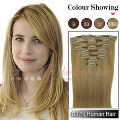 20 Inches 7pcs Clip-in Human Hair Extensions Straight (#P27/613)