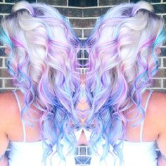 {#Inspiration} Platinum roots with purple & blue & pink highlights What about coloring our 613A# set like this, sweeties?! Use code 'instagram' to get $10 off your VPFASHION orders! #blonde #hairstyles #dyedhair #haircoloring #instamood #curls #tagsforlikes #pretty #girl #style #ideas #hairoftheday #highlights