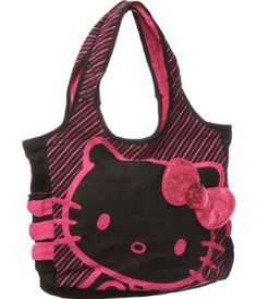 Hello Kitty Black Tote: Pink Sequin.  List Price: $48.00  Sale Price: $28.27  Savings: $19.73