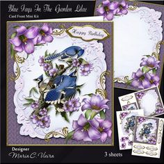 Blue Jays In The Garden 6x8 Lilac Kit on Craftsuprint designed by Maria Christina Vieira  - Blue Jays In The Garden 6x8 Lilac Mini Kit,3 Sheet mini kit ,comes with Card front, matching Insert, 7 Labels one of them a blank,Topper and decoupage flowers.Labels:Happy Birthday, Thank You, Happy Mother's Day, To Someone Special,Friend, Best Wishes and one blank. - Now available for download!