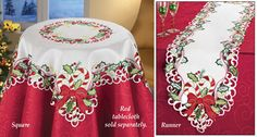 Embroidered Candy Cane Holiday Table Linens