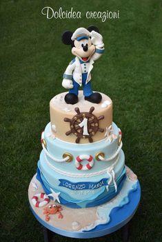 Bug Birthday Cakes, Nautical Birthday Cakes, 1st Birthday Cake For Girls, Mickey Mouse Birthday Cake, Nautical Cake, Nautical Mickey, Pastel Mickey, Mickey And Minnie Cake, Bolo Mickey
