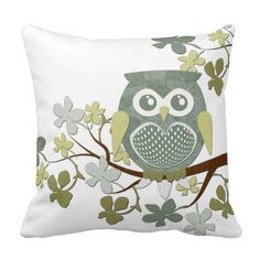 Polka Dot Owl in Tree Throw Pillow