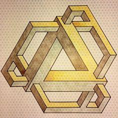 Impossible on Behance Geometric Trees, Geometric Shapes Art, Mc Escher, Op Art, Mathematical Drawing, Sharpie Drawings, 3d Drawings, Isometric Drawing, Graph Paper Art