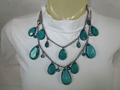 Vintage AQUA LARGE BEAD NECKLACE Double-Strand ~Faceted Metal~Plastic #Unbranded #Traditional