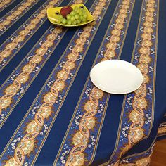 French provencal blue and yellow cotton tablecloth