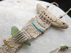 Driftwood Necklace long beach story  Loom woven Tapestry