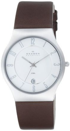 Skagen Men's 233XXLSL Brown Leather Watch Skagen. $100.00. Water-resistant to 99 feet (30 M). Stainless-steel case; White dial; Date function. Mineral crystal. Japanese-quartz movement. Case diameter: 37 mm
