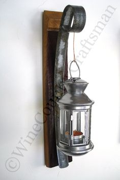 Wall Hanging Candle Holder with Lantern - 100% Recycled Wine Barrels