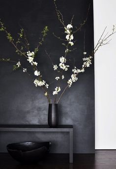 dark wall and cherry blossom