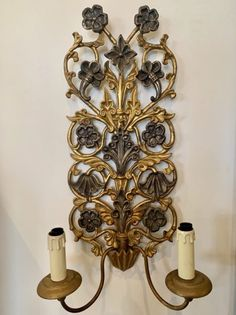 A pair of highly decorative gilt wood sconces c.1920