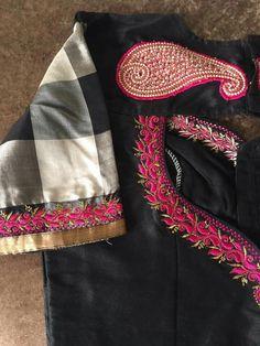 No photo description available. Traditional Blouse Designs, Silk Saree Blouse Designs, Fancy Blouse Designs, Bridal Blouse Designs, Blouse Neck Designs, Blouse Patterns, Maggam Work Designs, Sumo, Work Blouse