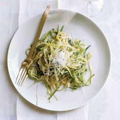 Zucchini Linguine with Herbs   Grace Parisi treats shredded zucchini and scallions just like the linguine in this lush dish: She tosses them all in a buttery sauce with lemon thyme and tarragon and finishes the dish with pecorino cheese.