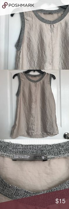 ZARA W&BCollection Champagne Sleeveless Top Medium ZARA W&BCollection Champagne Sleeveless Top Medium NWOT originally bought it for myself but didn't fit. Zara Tops